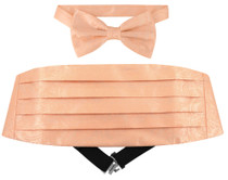 Cumberbund BowTie Peach Paisley Design Mens Cummerbund Bow Tie Set