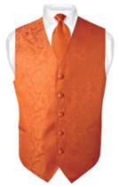 Men's Paisley Design Dress Vest & NeckTie BURNT ORANGE Color Neck Tie Set