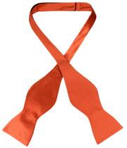 Biagio Self Tie Bow Tie Solid Burnt Orange Color Mens BowTie