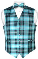 Men's Plaid Design Dress Vest & BOWTie Black Turquoise White BOW Tie Set