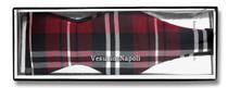Vesuvio Napoli SELF TIE BowTie Burgundy White Color PLAID Design Men's Bow Tie