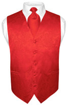 Red Paisley Neck Tie And Red Paisley Vest Set For Men