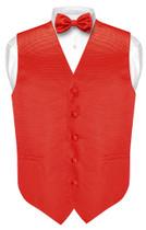 Mens Dress Vest BowTie Red Horizontal Stripe Bow Tie Woven Design Set