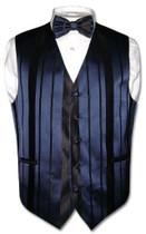 Mens Dress Vest BowTie Navy Blue Color Woven Striped Bow Tie Set