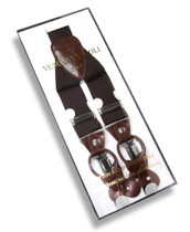 Men's Solid BROWN SUSPENDERS Y Shape Back Elastic Button & Clip Convertible