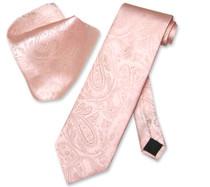 Vesuvio Napoli Peach PAISLEY NeckTie & Handkerchief Matching Men's Neck Tie Set