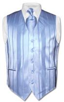 Mens Dress Vest & NeckTie Baby Blue Color Woven Striped Neck Tie Set