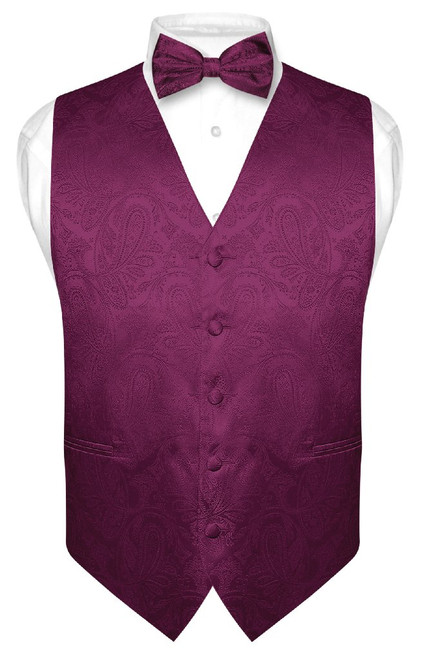 Mens Paisley Design Dress Vest & Bow Tie Eggplant Purple BowTie Set