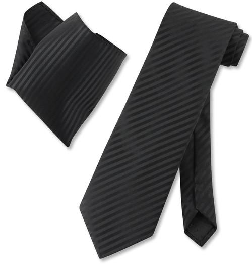 Vesuvio Napoli Black Vertical Stripes NeckTie & Handkerchief Tie Set