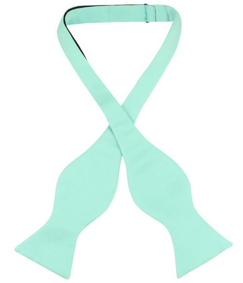 Vesuvio Napoli Self Tie Bow Tie Solid Aqua Green Color Mens BowTie