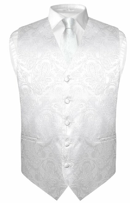 Mens Paisley Design Dress Vest & NeckTie White Color Neck Tie Set