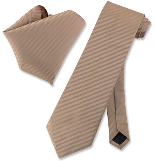 Vesuvio Napoli Mocha Light Brown Striped NeckTie & Handkerchief Tie