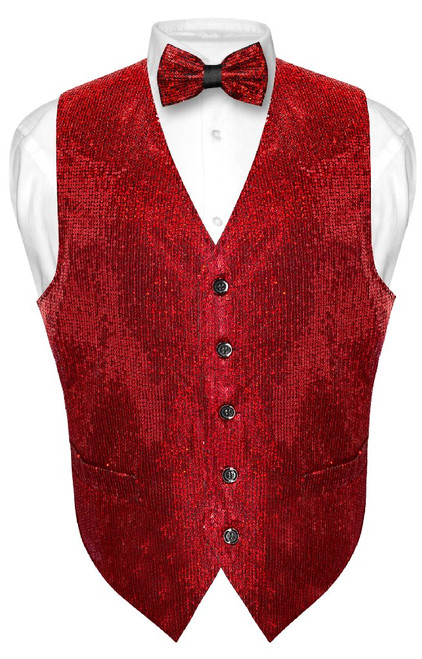 Mens SEQUIN Design Dress Vest & Bow Tie Red Color BowTie Set