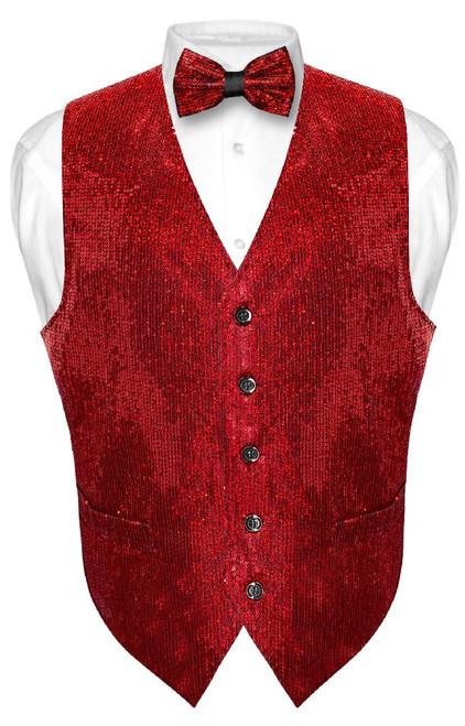 Mens SEQUIN Design Dress Vest & Bow Tie Red Color BowTie Set