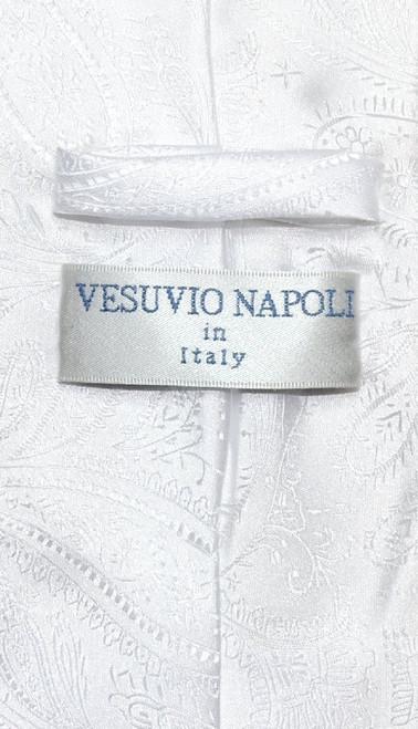 Vesuvio Napoli NeckTie White Color Paisley Design Mens Neck Tie