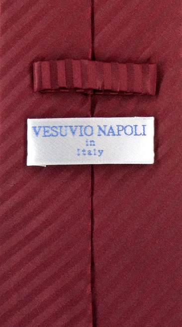 Vesuvio Napoli Burgundy Striped NeckTie & Handkerchief Neck Tie Set