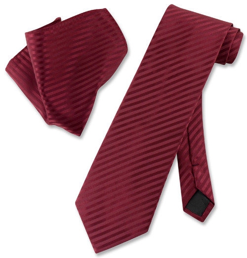 Vesuvio Napoli Burgundy Striped NeckTie & Handkerchief Neck Tie Set