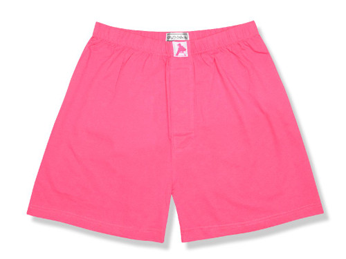 100% Knit Cotton Boxer Shorts   Biagio Men Hot Pink Fuchsia Boxers