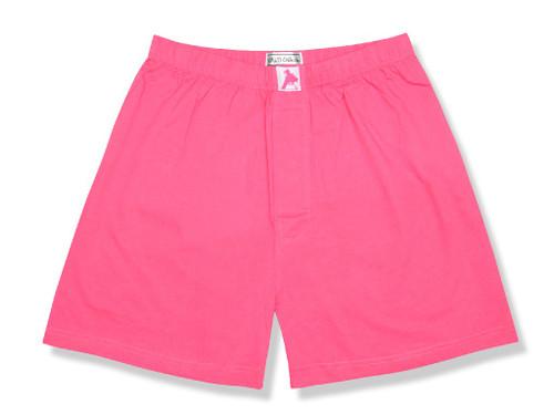 100% Knit Cotton Boxer Shorts | Biagio Men Hot Pink Fuchsia Boxers