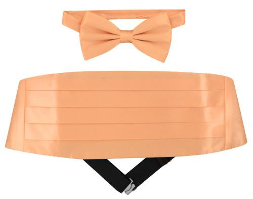 Silk Cumberbund BowTie Peach Orange Color Mens Cummerbund Bow Tie Set