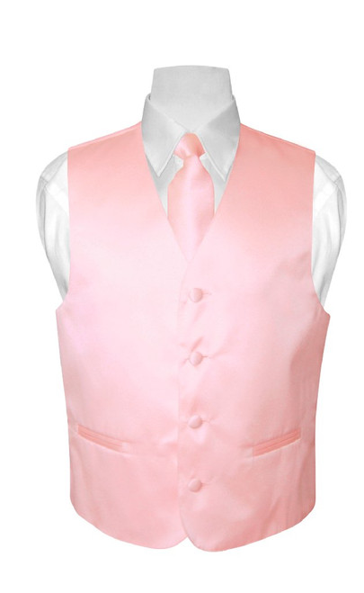 Boys Dress Vest NeckTie Solid Pink Color Neck Tie Set
