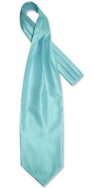 Turquoise Blue Cravat | Solid Color Ribbed Ascot Cravat Mens Tie