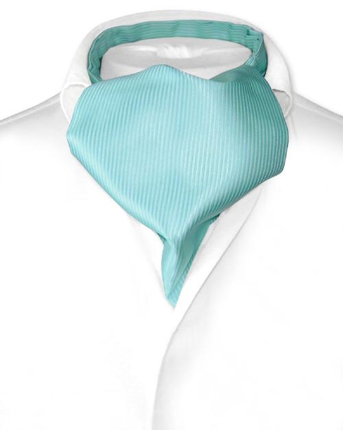 Turquoise Blue Cravat   Solid Color Ribbed Ascot Cravat Mens Tie