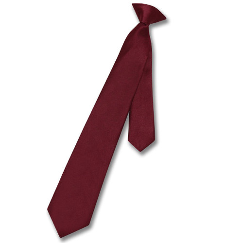 Vesuvio Napoli Boys Clip-On NeckTie Solid Burgundy Youth Neck Tie