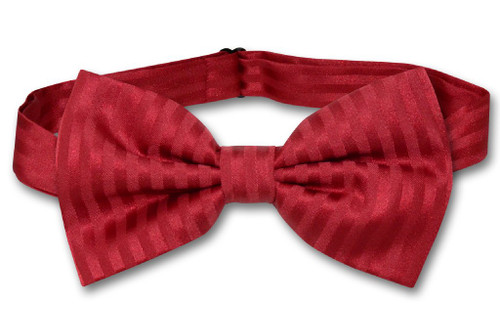 Vesuvio Napoli BowTie Red Color Striped Vertical Stripes Mens Bow Tie