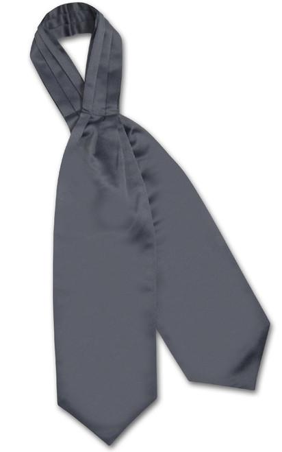 Charcoal Grey Cravat Tie | Vesuvio Napoli Mens Solid Color Ascot Tie