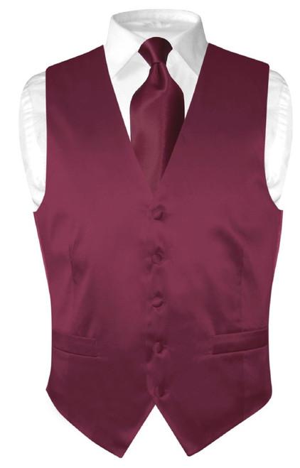 Eggplant Vest | Eggplant NeckTie | Silk Solid Color Vest Neck Tie Set