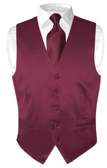 Eggplant Ties | Mens Silk Eggplant Dress Vest and Neck Tie Set