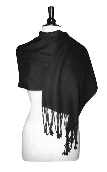 Black Pashmina | Biagio 100% Wool Pashmina Scarf