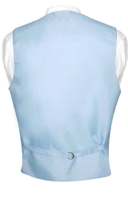 Mens Dress Vest & NeckTie Solid Baby Blue Color Neck Tie Set