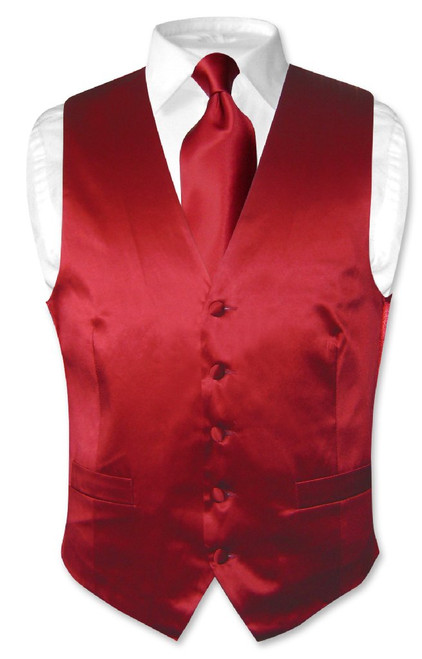 Dark Red Vest | Dark Red NeckTie | Silk Dark Red Vest Neck Tie Set