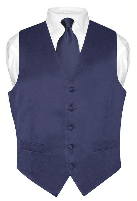 Navy Blue Vest and Neck Tie | Silk Solid Color Vest NeckTie Set