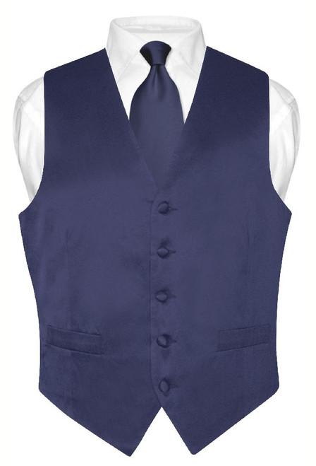 Biagio Mens Silk Dress Vest NeckTie Solid Navy Blue Neck Tie Set