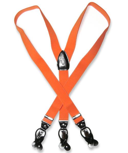 Mens Solid Orange Suspenders Y Shape Back Elastic Button & Clip
