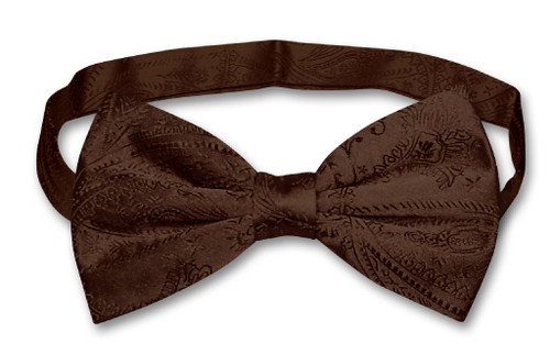 Vesuvio Napoli BowTie Dark Brown Paisley Color Mens Bow Tie