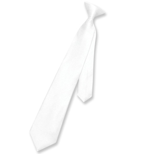 Clip On Necktie | Boys Youth White Clip On Tie
