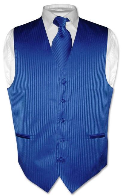 Mens Dress Vest NeckTie Royal Blue Color Vertical Striped Neck Tie Set