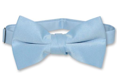 Vesuvio Napoli Boys BowTie Solid Baby Blue Color Youth Bow Tie