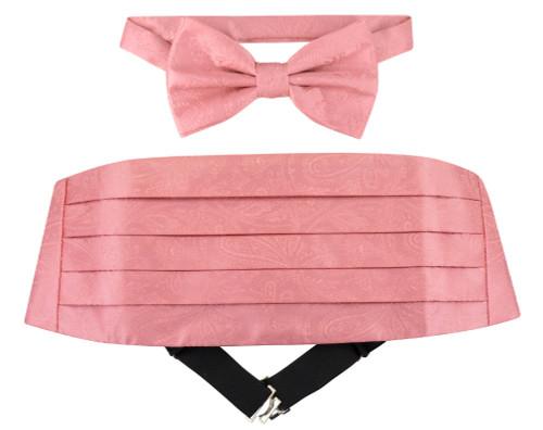 Cumberbund BowTie Pink Paisley Design Mens Cummerbund Bow Tie Set