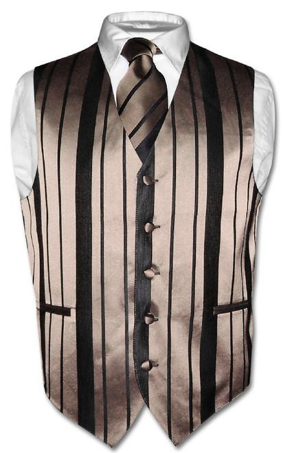 Mens Dress Vest & NeckTie Taupe Light Brown Woven Striped Neck Tie Set