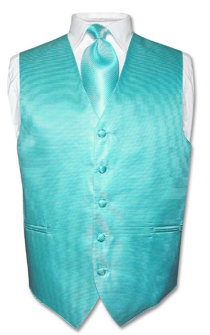 Mens Dress Vest NeckTie Turquoise Blue Neck Tie Horizontal Stripe Set