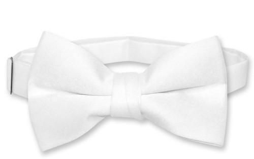 Vesuvio Napoli Boys BowTie Solid White Color Youth Bow Tie