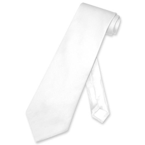 Biagio 100% Silk NeckTie Solid White Color Mens Neck Tie