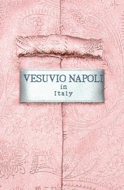 Vesuvio Napoli NeckTie Pink Color Paisley Design Mens Neck Tie