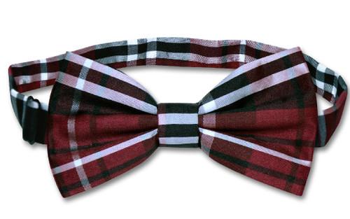 Vesuvio Napoli BowTie Black Burgundy White Color Plaid Mens Bow Tie