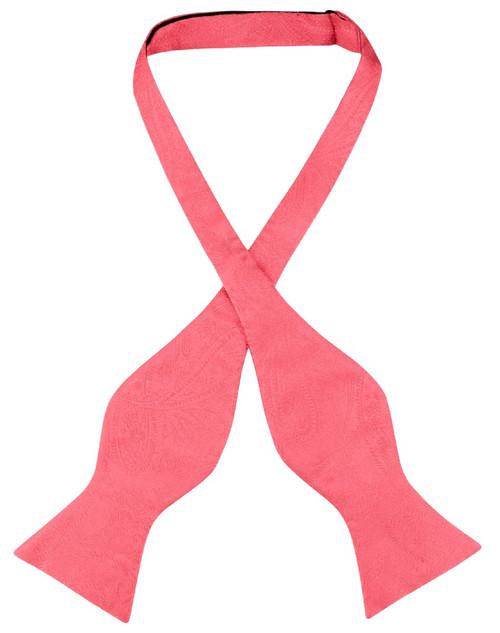 Vesuvio Napoli Self Tie Bow Tie Coral Pink Paisley Mens BowTie
